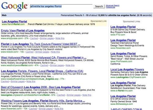 google los angeles florist search