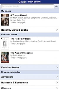 google book search mobile