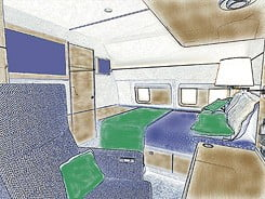 interior sketch of google airplane